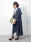 erikoさんの「花柄シフォンベルスリーブロングガウンワンピース(ANDJ|アンドジェイ)」を使ったコーディネート