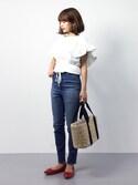 erikoさんの「パンプス エナメル ポインテッドトゥ 靴 シューズ くつ  ローヒール(BASE|ベース)」を使ったコーディネート