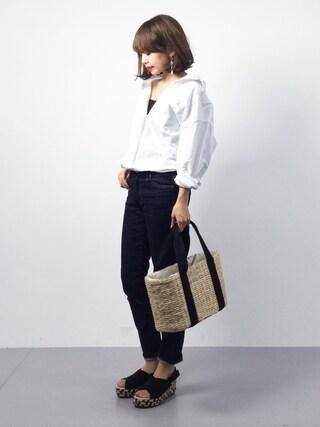 「【LEE5月号掲載】コットンリネン2wayビッグシャツ(le.coeur blanc)」 using this ZOZOTOWN|eriko looks