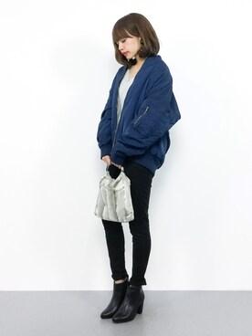 ZOZOTOWN|erikoさんの「ビックシルエットでゆったり着れる◆MA-1中綿キルティングオーバーサイズシルエット長袖ミリタリージャケット(select MOCA)」を使ったコーディネート