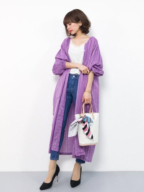 erikoさんの「ラメストライプドビー織りボリュームスリーブワンピース(select MOCA)」を使ったコーディネート