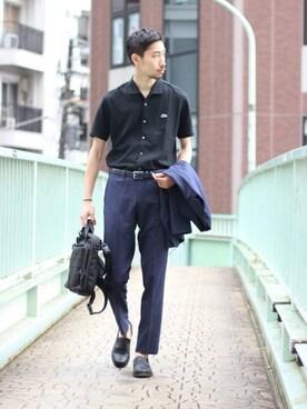 EDIFICE TOKYO 渋谷店|松木さんのポロシャツ「《予約》LACOSTE別注オープンカラーポロシャツ (LACOSTE|ラコステ)」を使ったコーディネート