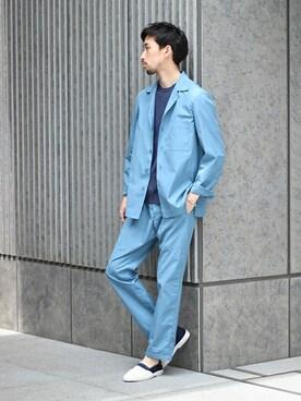 EDIFICE TOKYO 渋谷店|松木さんのテーラードジャケット「◇EDIFICE GRAYNAVYオープンカラージャケット(EDIFICE|エディフィス)」を使ったコーディネート