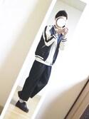 tomokiさんの「スカジャンブルゾン(unrelaxing|アンリラクシング)」を使ったコーディネート