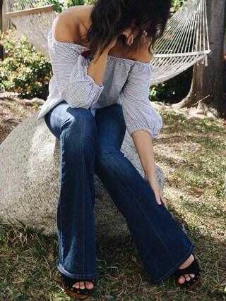 「Paige Denim 'Transcend - Lou Lou' Flare Jeans (Warren)(Paige Denim)」 using this Carla  looks