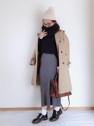 aponさんの「WOMEN メリノブレンドリブスカート(ユニクロ|ユニクロ)」を使ったコーディネート