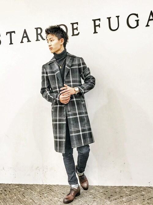 GOSTAR DE FUGA 越谷レイクタウン店Ryutaさんのチェスターコート「オンブレチェックシングルチェスターコート(GOSTAR DE FUGA|ゴスタール ジ フーガ)」を使ったコーディネート