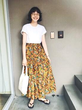 Kanocoさんの「Hanes 1P JAPAN Fit ジャパンフィット(1枚) クルーネックTシャツ(HANES|ヘインズ)」を使ったコーディネート