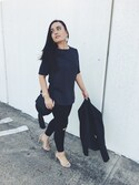 「Textured Scuba Side Panel Legging(EXPRESS)」 using this Becca Alvi  looks