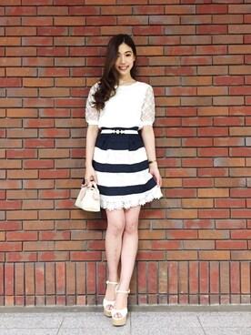 MIIA札幌パセオ店|YURINAさんの「レースゴムフレアスカート(MIIA|ミーア)」を使ったコーディネート