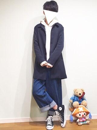 tai【プチプラ】さんの「TRストレッチスーツ地ステンカラーコート(MONO-MART|モノマート)」を使ったコーディネート