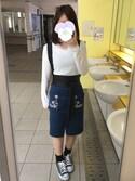 まりさんの「刺繍入りIラインスカート(MAJESTIC LEGON|マジェスティックレゴン)」を使ったコーディネート