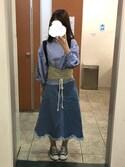 まりさんの「スカラップフリンジヘムデニムフレアスカート615-9527(merlot|メルロー)」を使ったコーディネート