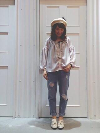 Sa-riさんの「タッセル付き刺繍ブラウス(archives|アルシーヴ)」を使ったコーディネート