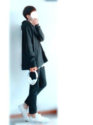くれよん♣︎さんの「MEN ストレッチスキニーフィットテーパードカラージーンズ(ユニクロ|ユニクロ)」を使ったコーディネート