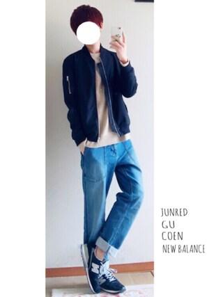 くれよん♣︎さんの「【MBC】デニムストレッチベイカーパンツ(coen|コーエン)」を使ったコーディネート