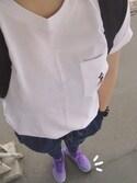 tyun.mさんの「「ミッキースタンズ」ポケツキT(半袖)(ユニクロ|ナイキ)」を使ったコーディネート