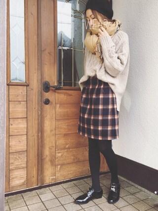 Sato*さんの「ウールブランケットチェック台形スカート(mysty woman|ミスティウーマン)」を使ったコーディネート