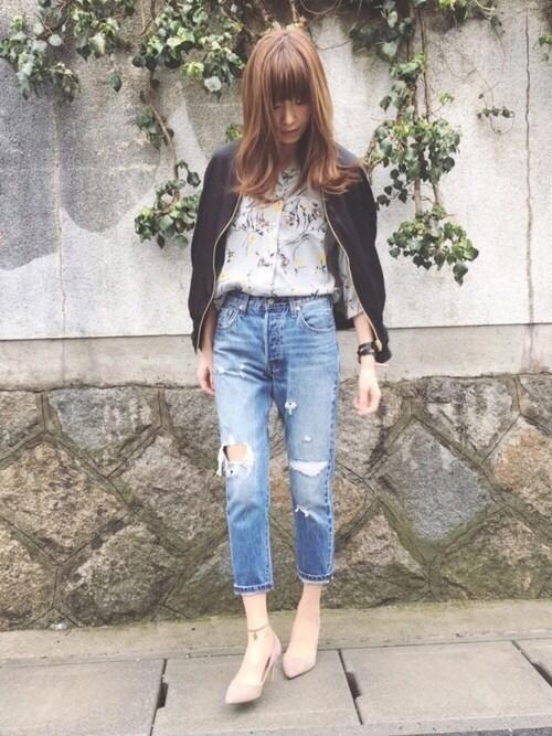 Sato*さんの「【リバーシブル】袖刺繍スカジャン×MA-1(mysty woman)」を使ったコーディネート