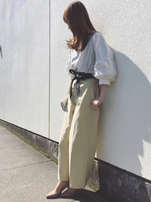 Sato*さんの「バックツイルベイカーワイドパンツ(mysty woman)」を使ったコーディネート
