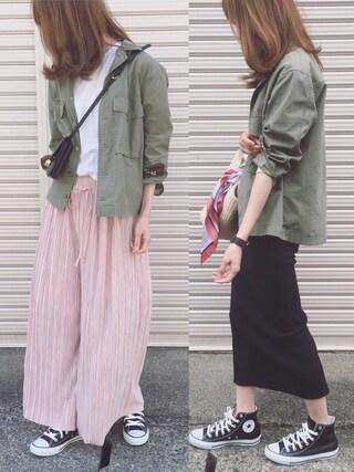 「コットンミリタリーシャツ(mysty woman)」 using this Sato* looks