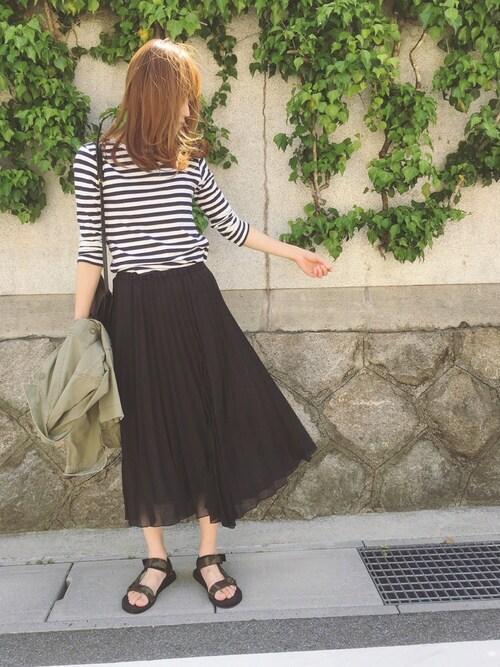 Sato*さんの「オーガンジープリーツアシメスカート(mysty woman)」を使ったコーディネート
