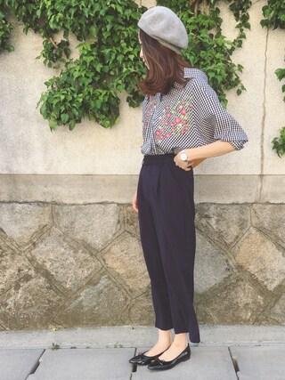 Sato*さんの「綿ブロード×刺繍スキッパーシャツ(mysty woman|ミスティウーマン)」を使ったコーディネート