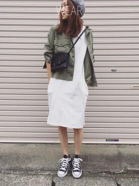 Sato*さんの「コットンミリタリーシャツ(mysty woman|ミスティウーマン)」を使ったコーディネート