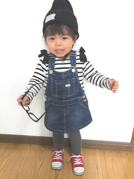shiina♡♡さんの「肩リボン付き裾スカラップ長袖ボーダーTシャツ(petit main|プティマイン)」を使ったコーディネート