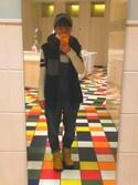 ぼくり。さんの「WOMEN コットンカシミヤラインロングセーター(長袖)(ユニクロ|ユニクロ)」を使ったコーディネート