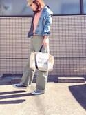 naoさんの「REEFUR ロゴ カラー スキーム トート バッグ M(MAISON DE REEFUR|メゾンドリーファー)」を使ったコーディネート