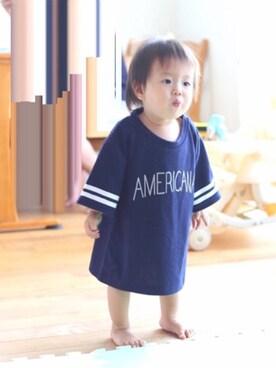 takeさんの「ライン入りロゴプリント半袖Tシャツ(petit main|プティマイン)」を使ったコーディネート