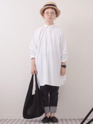 よちさんの「ビッグシャツワンピース4886(merlot|メルロー)」を使ったコーディネート