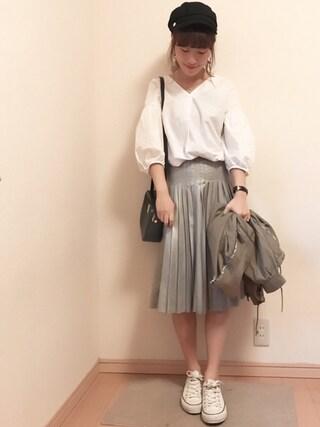 ayumaruさんの「【MODE】シャイニープリーツスカート(MURUA ムルーア)」を使ったコーディネート