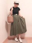 ayumaruさんの「ガチャベルフレアスカート(MURUA|ムルーア)」を使ったコーディネート