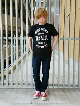 「ベーシックTシャツ/ミュージックノイズ(graniph)」 using this graniphららぽーと和泉|たとぅーーーん looks