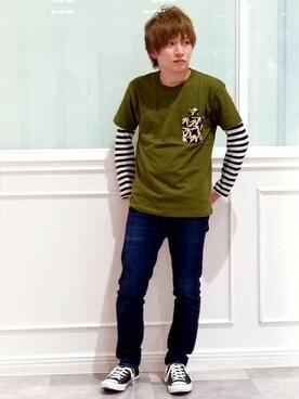 """A graniphららぽーと和泉 employee たとぅーーーん is wearing graniph """"アニマルショートスリーブTシャツ/バンブーアンドパンダ"""""""
