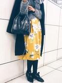 moderobe_EMIさんの「フラワーフレアスカート 花柄スカート(MODE ROBE|モードローブ)」を使ったコーディネート