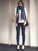 Kannaさんの「WOMEN エクストラファインメリノVネックセーター(長袖)(ユニクロ|ユニクロ)」を使ったコーディネート