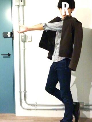 RYOさんの「エクストラファインコットンブロードシャツ(ストライプ・長袖)(ユニクロ|ユニクロ)」を使ったコーディネート