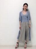 DRWCYS・PR 生駒典子さんの「透かし編みロングカーデ&キャミセット(DRWCYS|ドロシーズ)」を使ったコーディネート