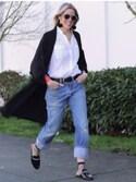 「Levi's 501 Slim-Fit Stretch-Denim Jeans(Levi's)」 using this Anne Dofelmier looks