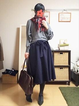 zhenmei*さんの「★新色追加★ミディ丈フレアスカート(ViS)」を使ったコーディネート
