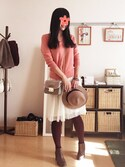 zhenmei*さんの「WOMEN エクストラファインメリノVネックセーター(長袖)(ユニクロ|ユニクロ)」を使ったコーディネート
