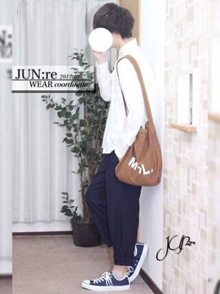 JUN:re ⍟さんの「【ベターコットン使用】OXシャツ長袖/565301(RAGEBLUE|レイジブルー)」を使ったコーディネート