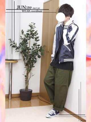 「【WEB別注】チノワイドパンツ(JUNRed)」 using this JUN:re ⍟ looks