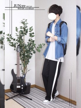 JUN:re ⍟さんの「サマーポンチルーズTシャツ(JUNRed|ジュンレッド)」を使ったコーディネート