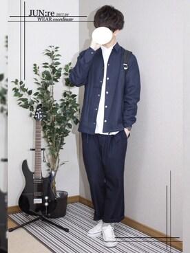 JUN☪︎:re さんの「【ベターコットン使用】OXシャツ長袖/565301(RAGEBLUE|レイジブルー)」を使ったコーディネート