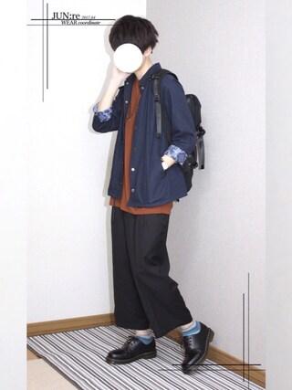 「リネンコーチジャケット(NAVAL)」 using this JUN:re looks