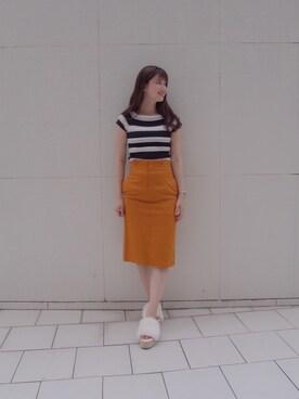 MERCURYDUO 中川真梨さんの「チノ風タイトスカート(MERCURYDUO)」を使ったコーディネート
